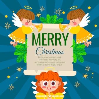 Platte achtergrond met drie schattige kerst engelen