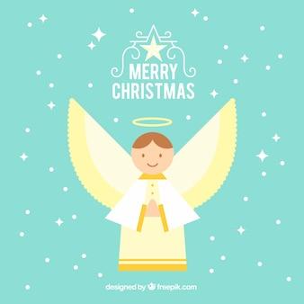 Platte achtergrond met een kerst engel