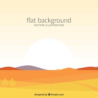 Platte achtergrond met een zonsopgang
