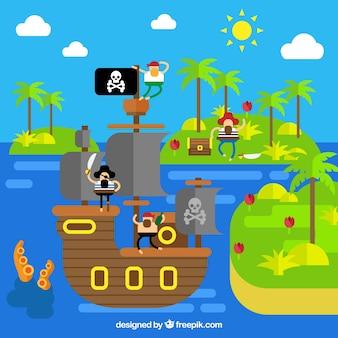 Platte achtergrond met eilanden en piraten