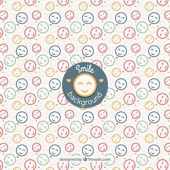 Platte achtergrond met gekleurde smileys