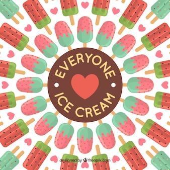 Platte achtergrond met heerlijke ijsjes