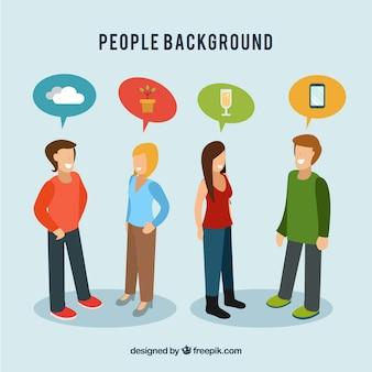 Platte achtergrond met mensen die gesprekken hebben