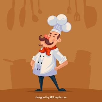 Platte achtergrond met silhouetten en chef-kok