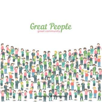 Platte achtergrond met sociale mensen