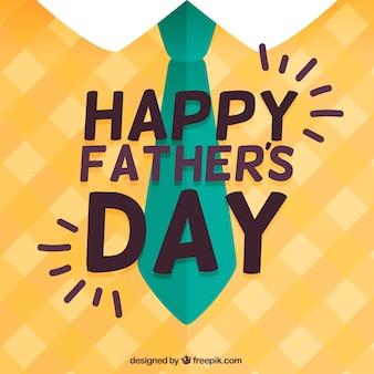 Platte achtergrond met stropdas en geruite trui voor de vaderdag