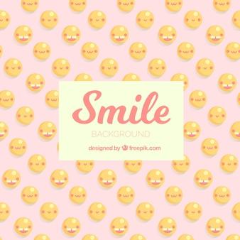 Platte achtergrond met verschillende smileys