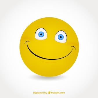 Platte achtergrond van gele lachende emoticon Gratis Vector