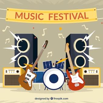 Platte achtergrond voor een muziekfestival