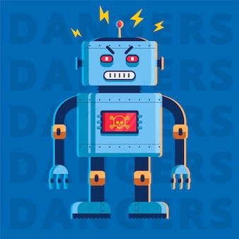Platte afbeelding van een kwaadaardige moordenaar robot. hij is heel boos. karakter illustratie