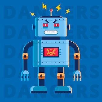 Platte afbeelding van een kwaadaardige moordenaar robot. hij is heel boos. karakter vector illustratie