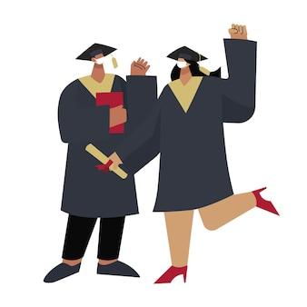 Platte afstuderen illustratie