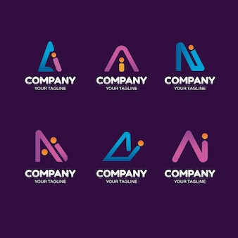 Platte ai logo sjablonen set