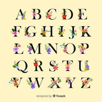 Platte alfabet met bloemen