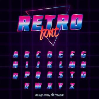 Platte alfabet sjabloon retro stijl