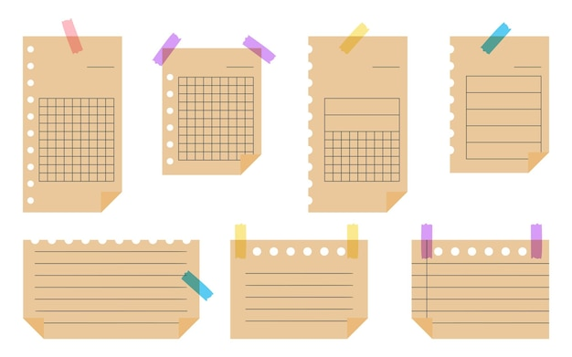 Platte ambachtelijke papier instellen sjabloon leeg bekleed notitiepapier met plakband vel met verschillende lineaire en rasterpatronen office elementen lege notities notebook geïsoleerd op witte vectorillustratie