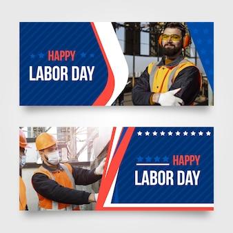 Platte amerikaanse dag van de arbeid banners set met foto