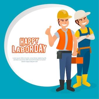 Platte amerikaanse dag van de arbeid illustratie