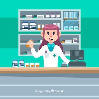 Platte apotheker het bijwonen van klanten achtergrond