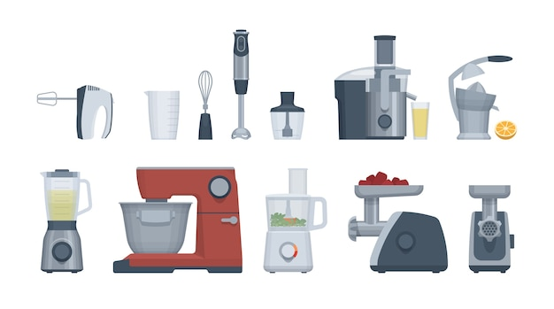Platte apparaten ingesteld. keukenmachine, blender, mixer en andere.