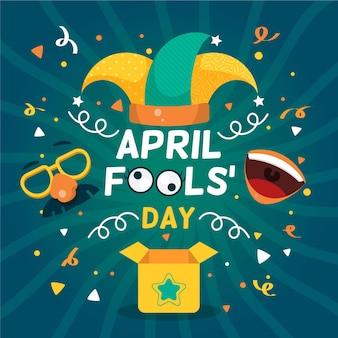 Platte april dwazen dag illustratie Gratis Vector