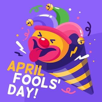 Platte april dwazen dag illustratie
