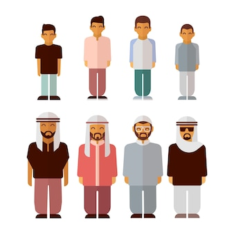 Platte arabische jongens en mannen geïsoleerd