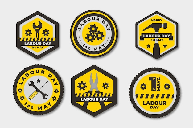 Platte arbeidsdag badge-collectie