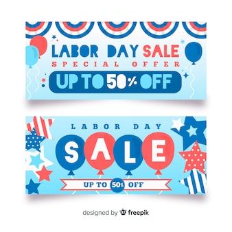 Platte arbeidsdag verkoop banners
