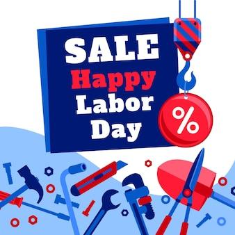 Platte arbeidsdag verkoop illustratie