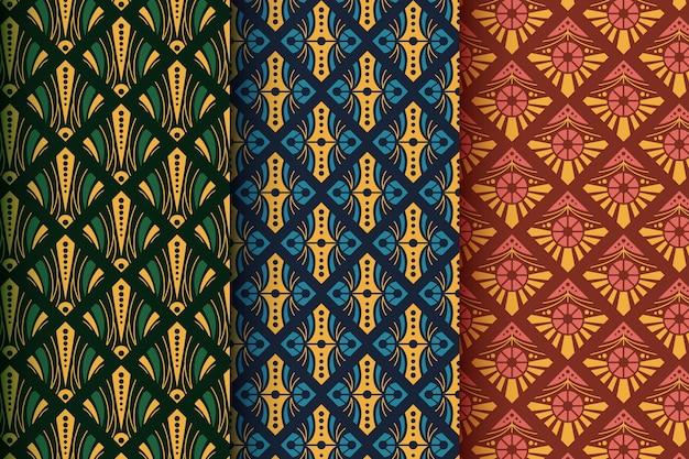 Platte art deco patroon ontwerpcollectie