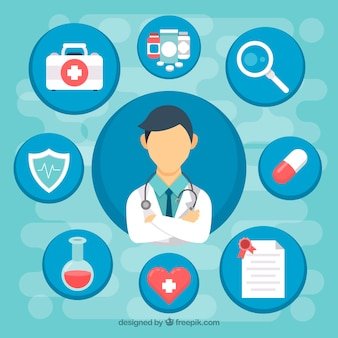 Platte arts en medische pictogrammen