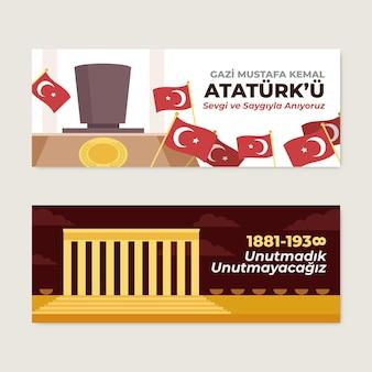 Platte ataturk herdenkingsdag horizontale banners set