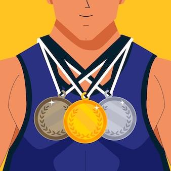 Platte atleet met verschillende medailles