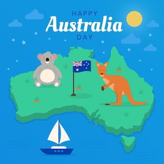 Platte australië dag illustratie