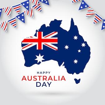 Platte australië dag met australische kaart