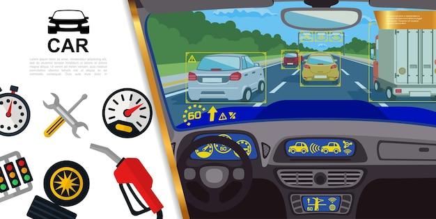Platte auto kleurrijk met uitzicht vanuit auto illustratie