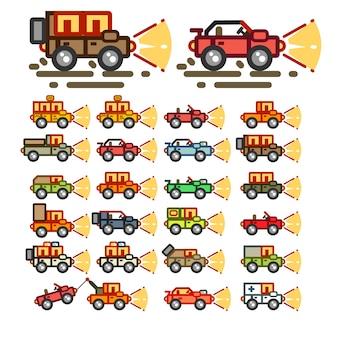Platte auto's 's nachts voor game-applicaties