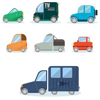 Platte auto's voor infographics kunnen worden gebruikt in games