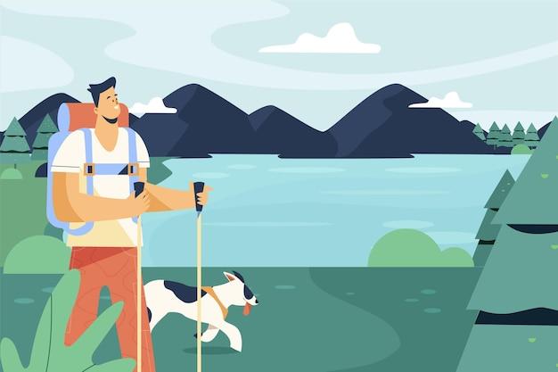 Platte avonturenachtergrond met hond