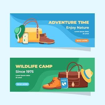 Platte avontuurlijke banners set