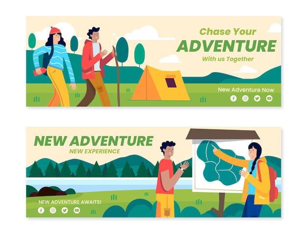 Platte avontuurlijke horizontale banners
