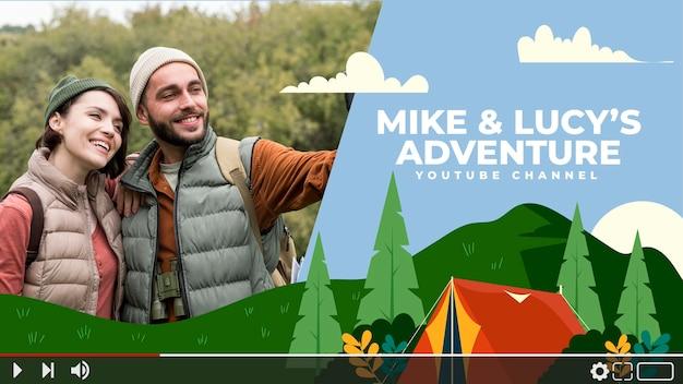 Platte avontuurlijke youtube-kanaalkunst met foto