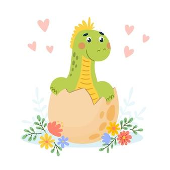 Platte baby dinosaurus geïllustreerd