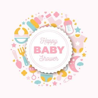 Platte baby shower kaart met pasgeboren element.