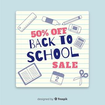 Platte back-to-school verkoopbanners