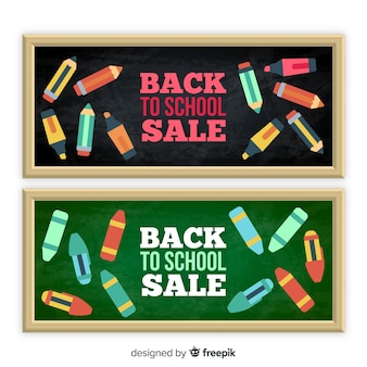 Platte back-to-school verkoopbanners