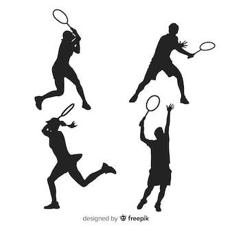 Platte badminton-speler silhouet collectie