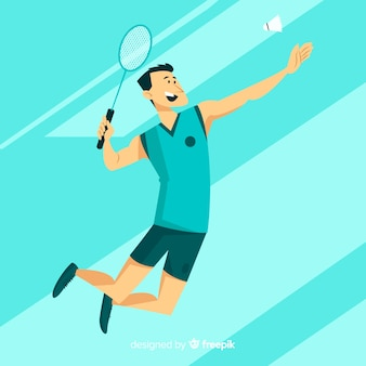 Platte badmintonspeler met racket