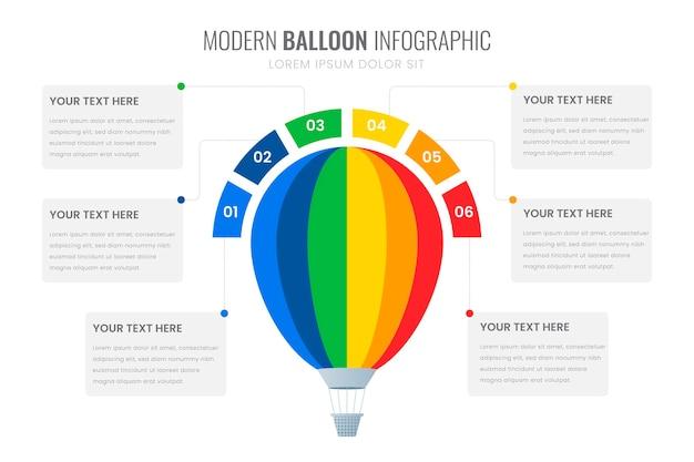 Platte ballon infographic sjabloon